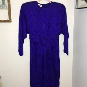 Vintage 80s 90s Blue Silk Floral Dress Size 10